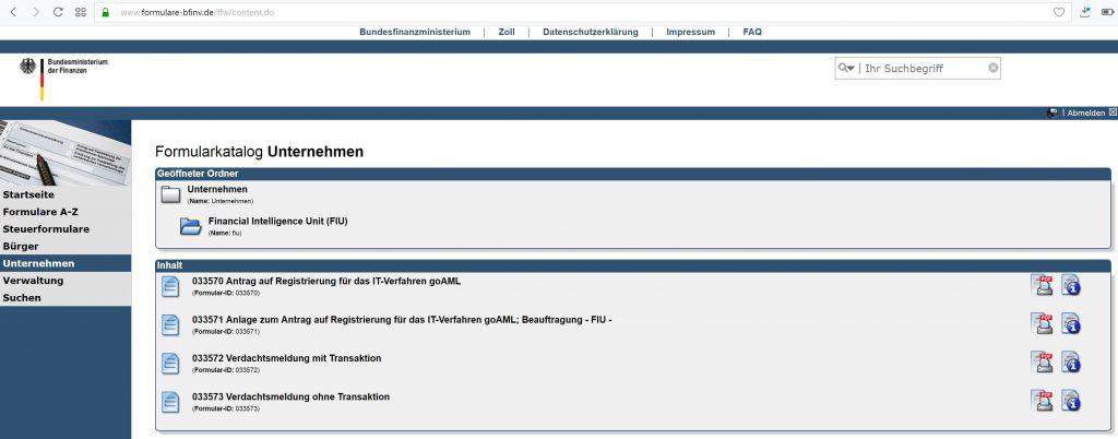 Formularkatalog Unternehmen - Financial Intelligence Unit (FIU)