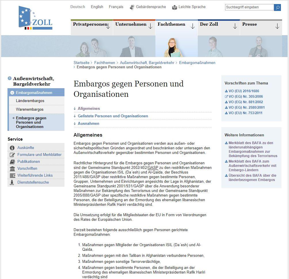 Embargos gegen Personen und Organisationen