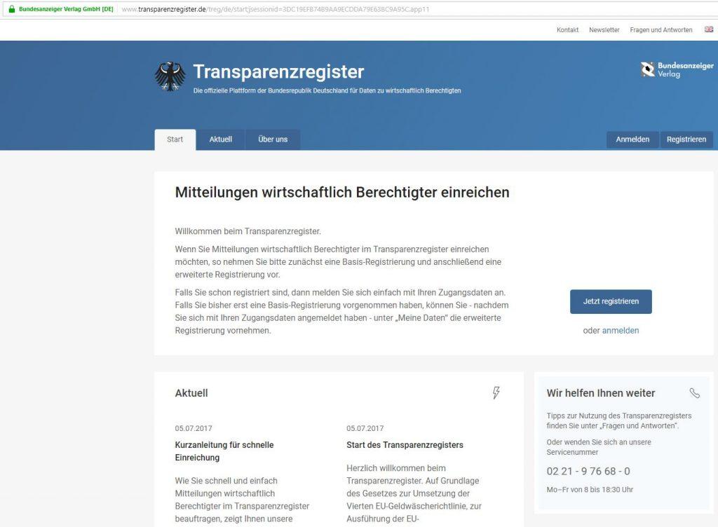 Transparenzregister - Die offizielle Plattform der Bundesrepublik Deutschland für Daten zu wirtschaftlich Berechtigten